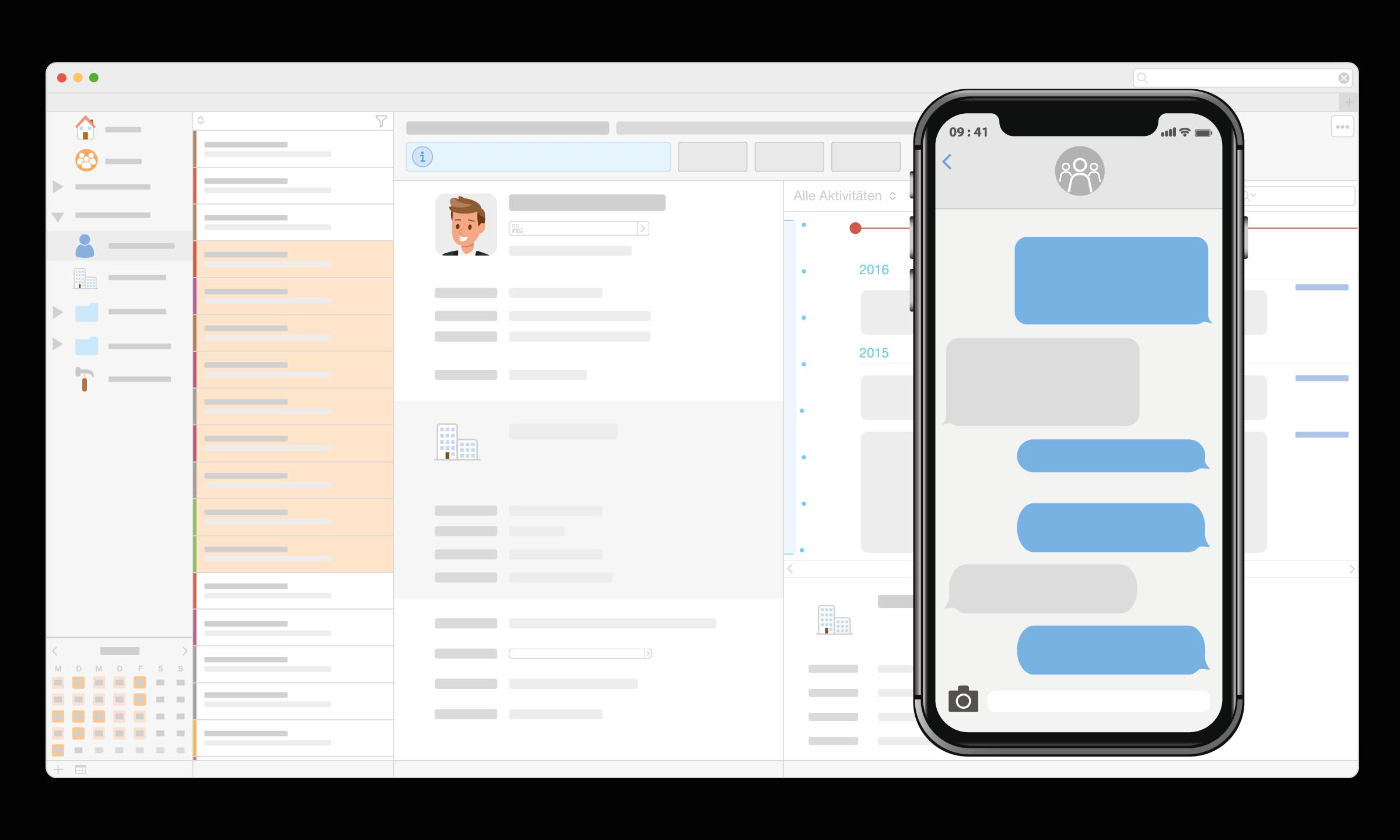 CRM Daylite Apple Mac SMS Konversation iPhone.png
