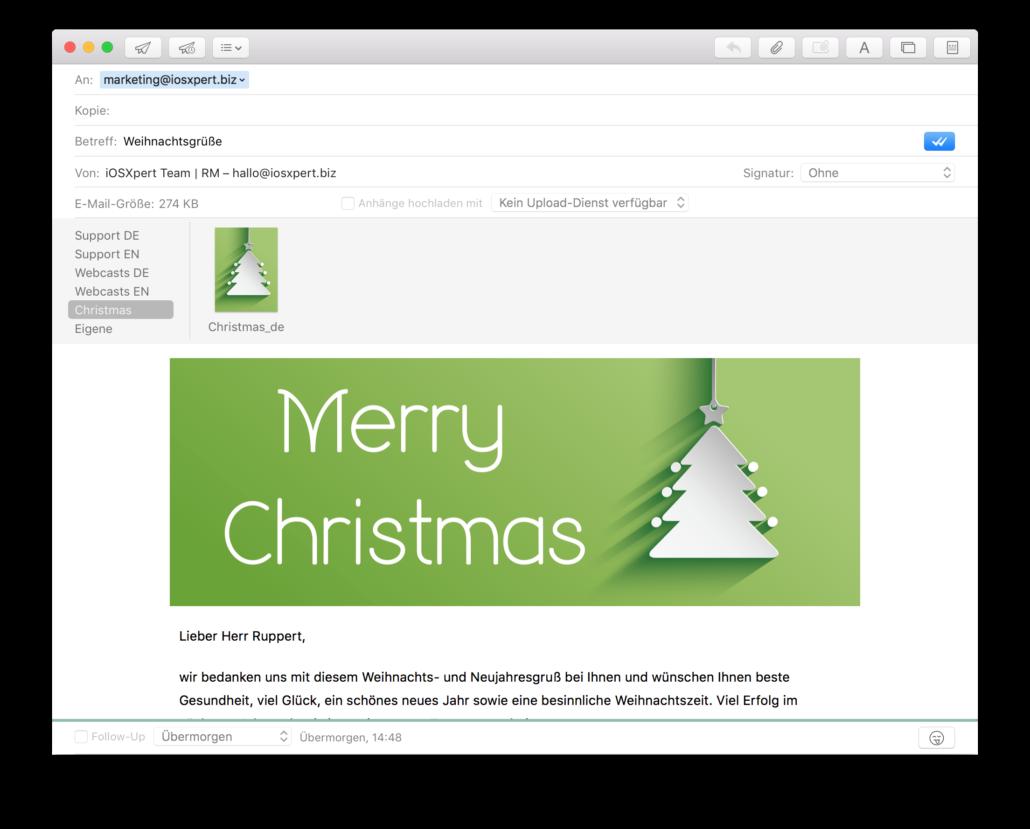 Weihnachtsgrüße mit Daylite - Apple Mail Vorlagen