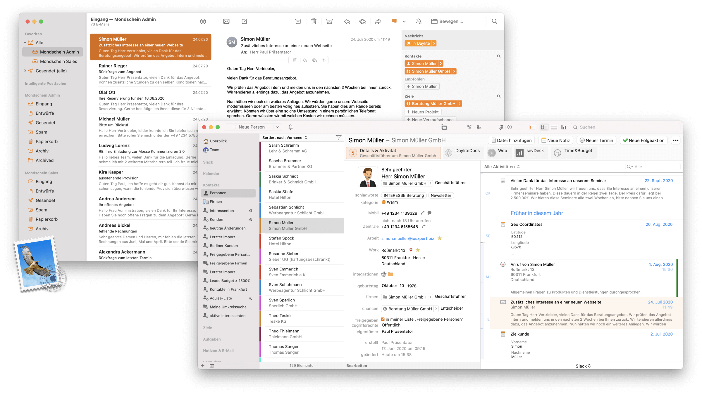 CRM Daylite Mac iPhone Kundenhistorie und E-Mail Integration.png