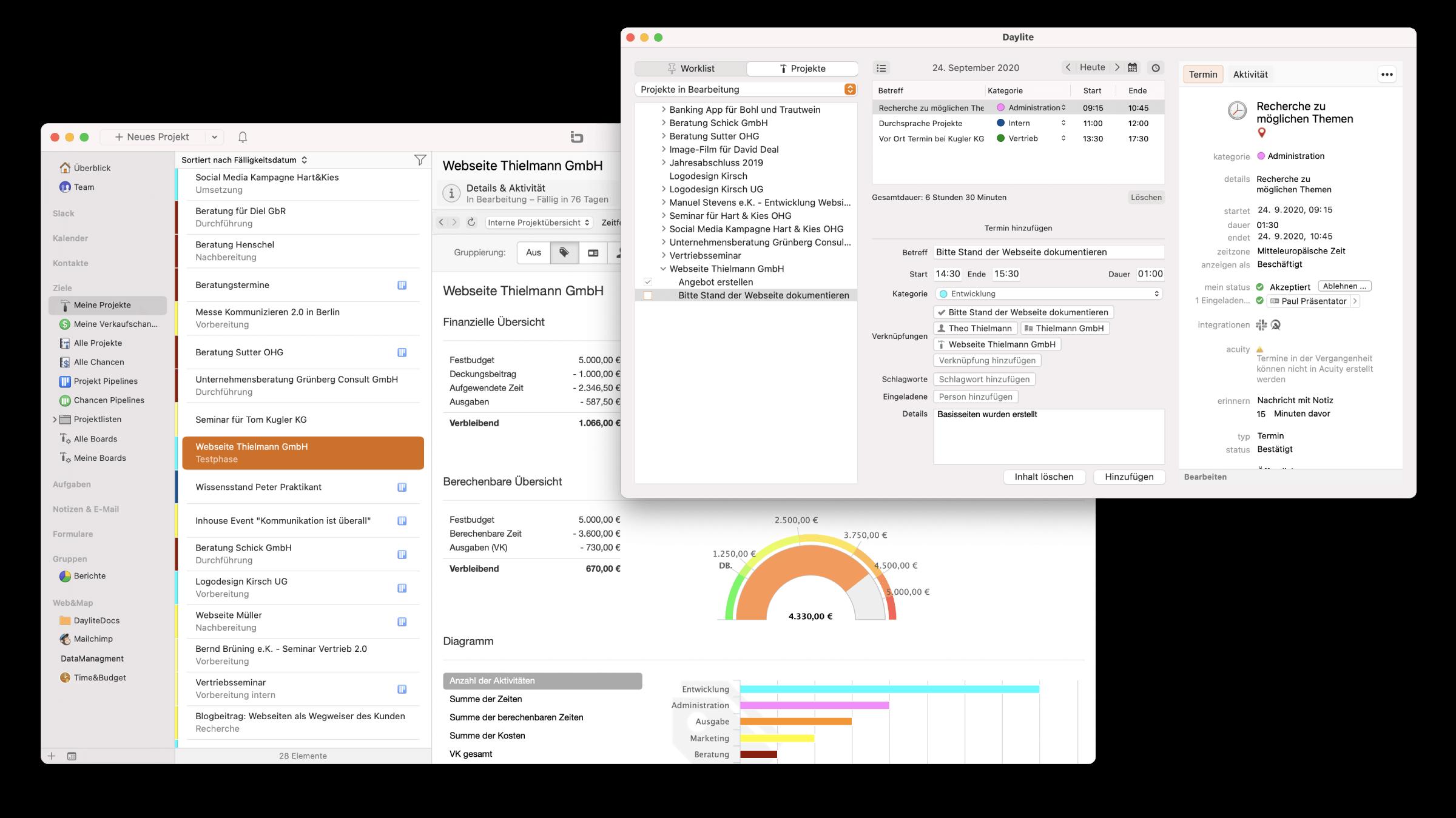 CRM Daylite Mac iPhone Projekt Budgetkontrolle Zeiterfassung.png